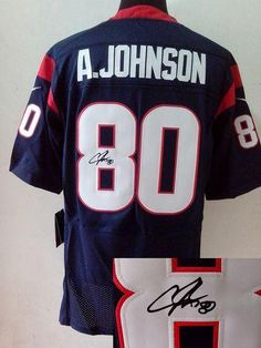 a239d7313 Nike Texans  80 Andre Johnson Navy Blue Team Color Men s Embroidered NFL  Elite Autographed Jersey