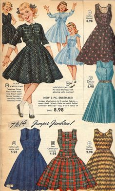 Vintage girls dress ad from Free Vintage Digistamps Vintage Girls Dresses, Little Girl Dresses, Vintage Outfits, 1950s Dresses, Vintage Clothing, 1950s Fashion, Girl Fashion, Vintage Fashion, Club Fashion