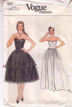 Vogue Dress Bridal Evening Bouffont Skirt Fitted Bodice Sewing Pattern Sz 12-16 #VoguePatterns #straplessgown