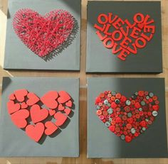 Love art for the bedroom - make Valentine& Day gifts yourself valentines day day day cards day crafts day food day ideas geschenk spruch Diy And Crafts, Crafts For Kids, Arts And Crafts, Paper Crafts, Valentines Day Decorations, Valentine Day Crafts, Cuadros Diy, Valentines Bricolage, Art Diy