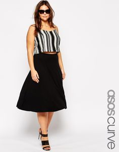 Buy ASOS CURVE Longer Length midi skater skirt in jersey at ASOS. With free delivery and return options (Ts&Cs apply), online shopping has never been so easy. Get the latest trends with ASOS now. Black Circle Skirts, Black Flare Skirt, Midi Skater Skirt, Black Skater Skirts, Flared Skirt, Jupe Swing, Swing Skirt, Asos Curve, Plus Size Fashion For Women