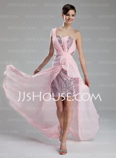 Prom Dresses - $152.29 - A-Line/Princess One-Shoulder Sweep Train Chiffon Sequined Prom Dresses With Ruffle (018019172) http://jjshouse.com/A-Line-Princess-One-Shoulder-Sweep-Train-Chiffon-Sequined-Prom-Dresses-With-Ruffle-018019172-g19172
