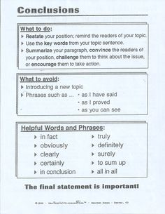 have you ever struggled with helping students write a good conclusion ...