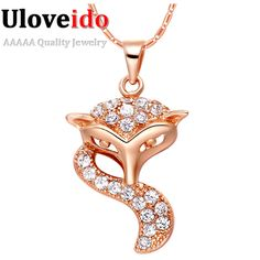 Find More Chain Necklaces Information about Vintage Necklaces for Men Women FOX Rose Gold Trendy Valentine's Day Gift Simulated Diamond 2016 Fashion Jewelry Pendants N952,High Quality necklace statement,China necklace dolphin Suppliers, Cheap necklace life from D&C Fashion Jewelry Buy to Get a Free Gift on Aliexpress.com