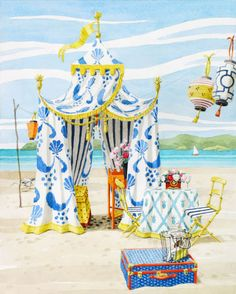 Limited edition giclee print by Harrison Howard of a luxury blue and white beach tent with yellow trim, Chinese lanterns, and a table for two with flowers. Beach Cabana, Beach Tent, Palm Beach, Gazebos, Flower Studio, Chinese Lanterns, Gouache Painting, Enchanted Home, A Table