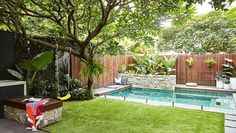 Inspired by a family trip to Bali, this compact garden includes kid-friendly zones and plenty of space for entertaining. Backyard kids friendly This compact Sydney garden is inspired by Bali Small Backyard Design, Small Backyard Landscaping, Backyard Patio, Backyard Ideas, Patio Ideas, Landscaping Ideas, Garden Ideas, Small Backyard With Pool, Small Pool Ideas