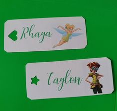 I designed Tinkerbell name tags to go on some party boxes, I wanted to do a girls & boys so sticking to the Tinkerbell, I used a character within the film and use different style shapes! Tinkerbell Characters, Bag Names, Tinkerbell Party, Party In A Box, Green Ribbon, Name Tags, Wedding Stationary, Wedding Events, My Design