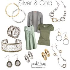 Silver & Gold Park Lane Jewelry featured: Electrify Earrings, Notorious Ring, Notorious Bracelet, Notorious earrings, Hoop earrings in gold & silver, Fusion Necklace, Fusion Earrings, and Front Row Necklace.