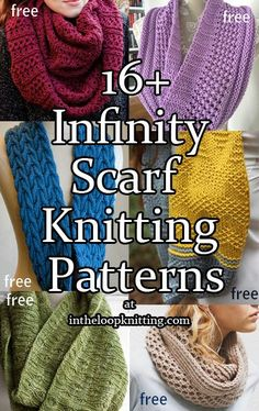 Knitting Patterns for Infinity Scarf Cowls. Most patterns are free