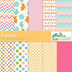 Easter Digital Papers in pastel colors are great for stationery, baby announcements, photo layouts and more.