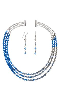 Jewelry Design - Triple-Strand Necklace and Earring Set with Swarovski Crystal - Fire Mountain Gems and Beads