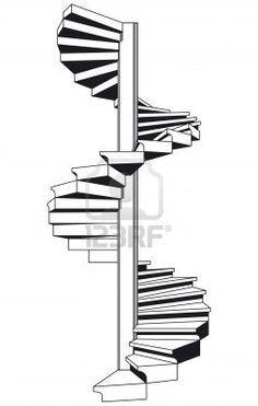 Illustration of spiral staircase vector art, clipart and stock vectors. Staircase Tattoo, Staircase Drawing, Spiral Staircase Plan, Staircase Design, How To Draw Stairs, Spiral Tattoos, Interior Architecture Drawing, Traditional Staircase, Building Stairs