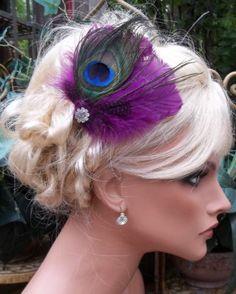 Purple-plum-peacock-feather-bridal-wedding-fascinator-hair-clip-Rhinestones-NEW
