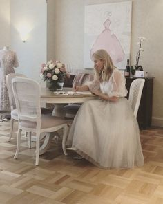 """Kerrie Hess on Instagram: """"A quiet moment before a day of events to open the suite...! 💕 At @langhammelbourne  #kerriehesssuite #lovinglangham #celebratetheeveryday .…"""" Bridal Shop Interior, Kerrie Hess, Megan Hess, European Fashion, European Style, Quiet Moments, Flower Girl Dresses, Hairstyle, In This Moment"""