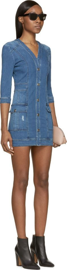 Pierre Balmain Blue Faded Denim Button-Up Pocket Dress