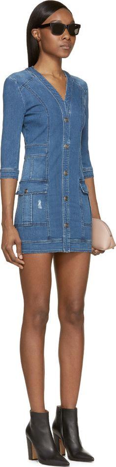 Pierre Balmain Blue Faded Denim Button-Up Pocket Dress