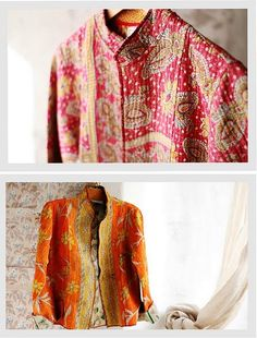 jackets made from Kantha stitched sari vintage quilts