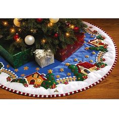 Mary's Christmas Village Christmas tree skirt designed by Mary Engelbreit. Finished tree skirt is Bucilla item number Mary Christmas, Christmas 2017, Christmas Crafts, Christmas Decorations, Holiday Decor, Small Christmas Tree Skirts, Christmas Tree Skirts Patterns, Christmas Stockings, Felt Applique