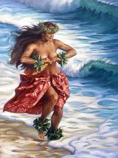 Hula dancer sunrise greeting island art ocean surf art by Phil Roberts Hawaiian Girls, Hawaiian Dancers, Hawaiian Art, Hawaiian Tattoo, Polynesian Girls, Polynesian Dance, Polynesian Culture, Polynesian Designs, Hawaii Hula