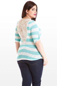 This lightweight sweater-knit top is sporty meets feminine, with rugby stripes gracing the front, 3/4 rollup tab sleeves and lower back. Contrasting the print is an ornate, see-through upper back, spun in cream-colored crochet, just the right amount of romantic detail.