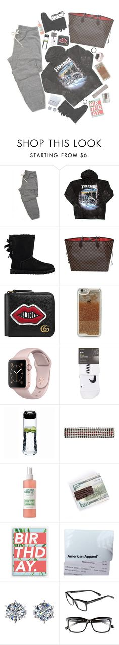 """""""bum αss birthdαy shopping. ✧"""" by princetonsboo16 ❤ liked on Polyvore featuring UGG, Louis Vuitton, Gucci, LMNT, NIKE, Riedel, Mario Badescu Skin Care, Nineteen Seventy Three, American Apparel and Ferrucci"""