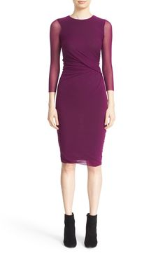 Fuzzi Sheer Sleeve Tulle Sheath Dress available at #Nordstrom