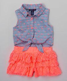 Love this Neon Coral Ruffle Romper - Toddler & Girls on #zulily! #zulilyfinds