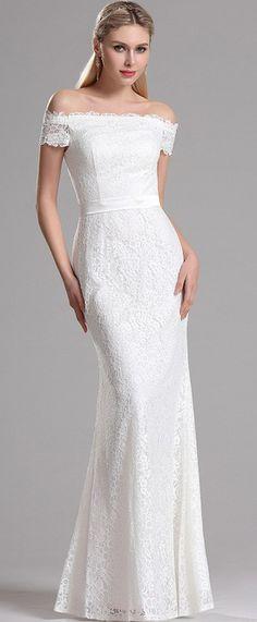 eDressit Off Shoulder White Lace Bridal Reception Dress