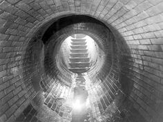 London Metropolitan Archives: Interior of Victorian sewer, photographed in 1939.