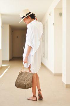 Oversized shirt - courtesy of UniQueen Hat - H Sandals - J.Crew, Beach bag - Fendi