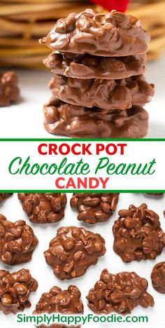 Crock Pot Chocolate Peanut Clusters candy is a sweet and lightly salty delight! This easy candy recipe combines different types of chocolate. Easy Christmas Candy Recipes, Easy Candy Recipes, Chocolate Candy Recipes, Christmas Snacks, Christmas Cooking, Crock Pot Chocolate Recipe, Crockpot Christmas Crack, Christmas Appetizers, Holiday Recipes