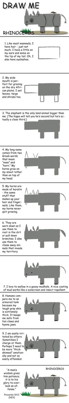 Draw a rhinoceros in 10 easy steps and learn fun facts about its life. © 2013 Marty Nystrom