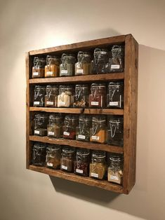 Wood spice rack, wooden spice rack, spice jars, kitchen