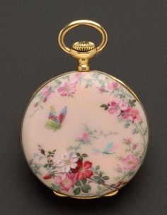 Lady's 18kt Gold and Enamel Open Face Pendant Watch, Patek Philippe This one's sold ($7600.00!) way out of my price range!