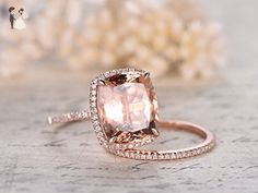 Carat cushion cut morganite rose gold wedding set diamond