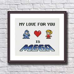 My Love For You is Mega - Megaman Cross Stitch Pattern PDF Instant Download
