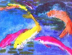 WALASSE TING / found on www.kunzt.gallery / Ting Fish, +- 1985 / Acrylic on paper / 157 x 120 cm