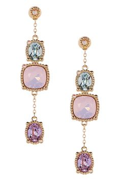 Rosette Crystal Dangle Earrings