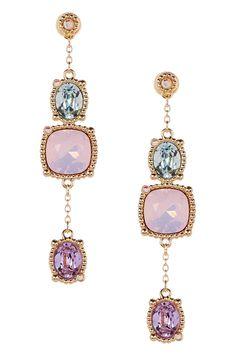 Rosette Crystal Dangle Earrings