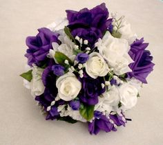 Wedding Bouquet purple and white silk rose bokay Pretty Realistic Silk Roses styled in this Purple Weddings Rose Bridal Bouquet Subtle touches of greenery silk babys breath and a few Neutral Wedding Flowers, Cheap Wedding Flowers, Wedding Ideas, Wedding Decor, Budget Wedding, Trendy Wedding, Wedding Details, Wedding Colors, Rose Bridal Bouquet