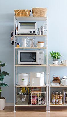 Kitchen Shelving Units, Diy Kitchen Storage, Home Decor Kitchen, Kitchen Interior, Home Kitchens, Kitchen Dining, Kitchen Rack, Japanese Apartment, Minimalist Kitchen