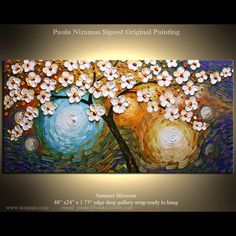 Original Modern Knife Oil Painting Cherry Blossom Ready by Nizamas, $365.00