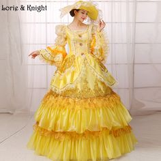 Queen Marie Antoinette Inspired Stage Costume Adult Princess Pageant Dress Masquerade Ball Gown YELLOW