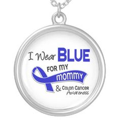 I Wear Blue For My Mommy 42 Colon Cancer Silver Plated Necklace