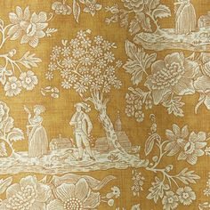 Cecelia is a simple toile that depicts a serence and bucolic scene in white. Printed on a saffron yellow background on a natural linen cloth. Order your sample of Jean Monro fabric fabrics today with F&P Interiors Curtain Fabric, Linen Fabric, Linen Cloth, Sea Wallpaper, Yellow Background, Green Backgrounds, Natural Linen, Fabric Patterns, Fabric Design
