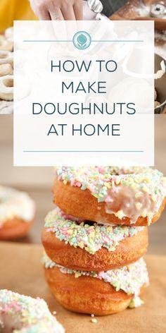 How to Make Doughnuts at Home - Paula Deen Good Desserts To Make, Fun Desserts, Delicious Desserts, Dessert Recipes, Awesome Desserts, Homemade Doughnut Recipe, Breakfast Recipes, Breakfast Bites, Baking Recipes