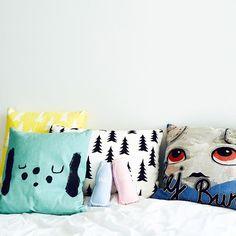 Pillows in pastels...#pillows #pastel #fred #finelittleday #gran #yellow #blackandwhite #bunty #luckyboysunday #milk #milkbottle #rattle #pluche #cushion #kidsroomdecor #blush #blue #themilkcollective #babygift #babytoys #littlelovedones