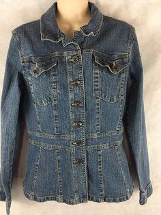 Axcess Stretch Denim Blue Jean Peplum Jacket Size M  #Axcess #JeanJacket