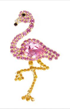 Pink Flamingo Pin with Swarovski Stones by Albert Weiss *** Learn more by visiting the image link. (This is an affiliate link) #JewelryDesign