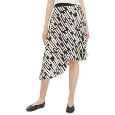 Women's Topshop Cut Stripe Asymmetrical Skirt (115 BRL) ❤ liked on Polyvore featuring skirts, black multi, midi skirt, topshop skirts, stripe skirt, striped midi skirt and patterned midi skirt